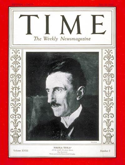 Pamiątkowa okładka z 1931 roku, magazynu Time - chcąc uczcić 75 urodziny Tesli.